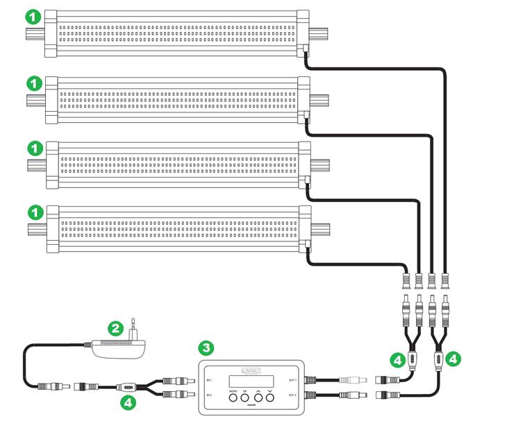 Aquatlantis Luminus + 4x EasyLED Universal 1047 mm